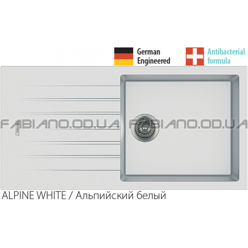 Гранитная мойка Fabiano Classic 100x50 Alpine White