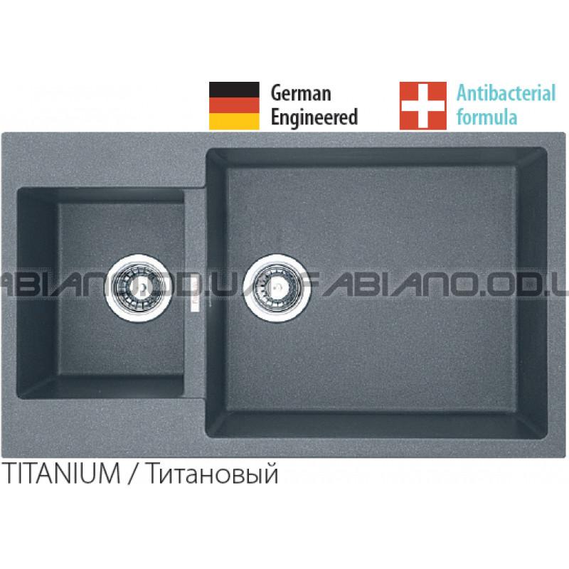 Гранитная мойка Fabiano Quadro 86x50x15 Titanium