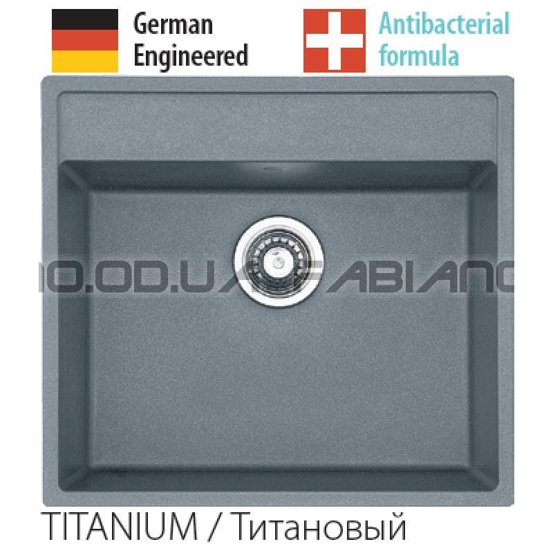 Гранитная мойка Fabiano Quadro 56x51 Titanium