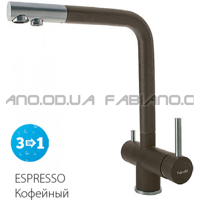 Гранитный смеситель Fabiano FKM 31.7 S/Steel Espresso