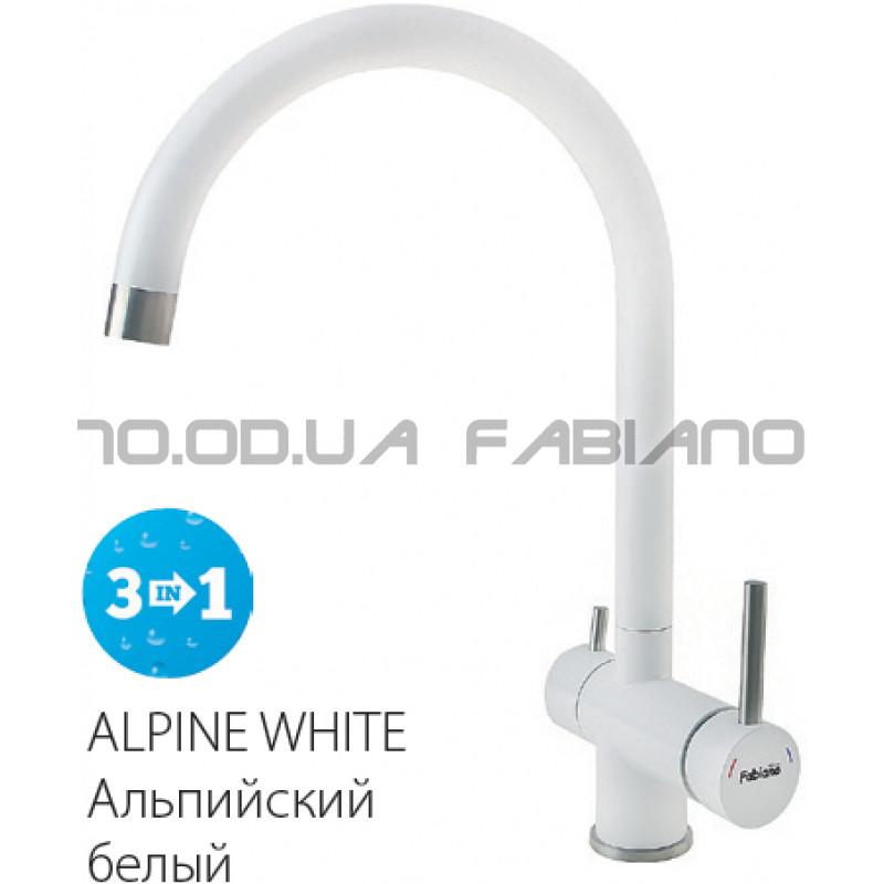Гранитный смеситель Fabiano FKM 31.5 S/Steel Alpine White
