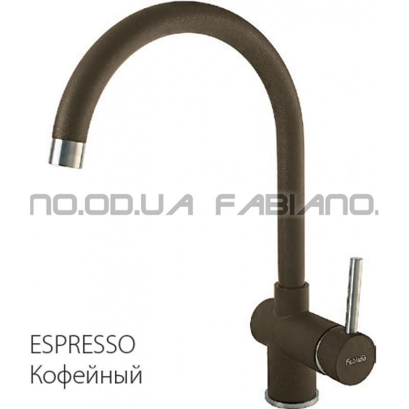 Гранитный смеситель Fabiano FKM 39 S/Steel Espresso