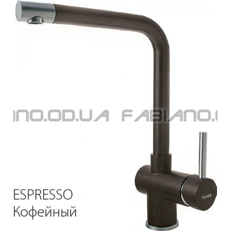 Гранитный смеситель Fabiano FKM 45 S/Steel Espresso