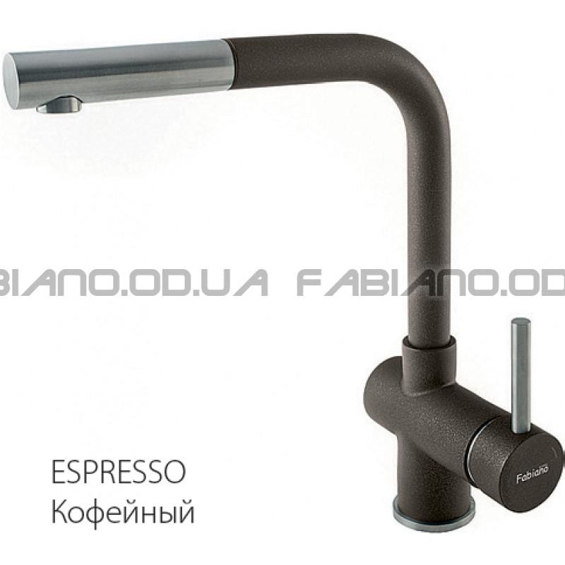 Гранитный смеситель Fabiano FKM 46P S/Steel Espresso