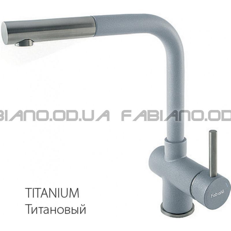 Гранитный смеситель Fabiano FKM 46P S/Steel Titanium