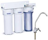 Трехступенчатый бытовой фильтр для воды под мойку Aqualine MF3