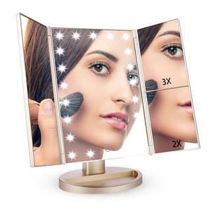 Косметическое зеркало с 22 светодиодными лампами, сенсорным экраном.