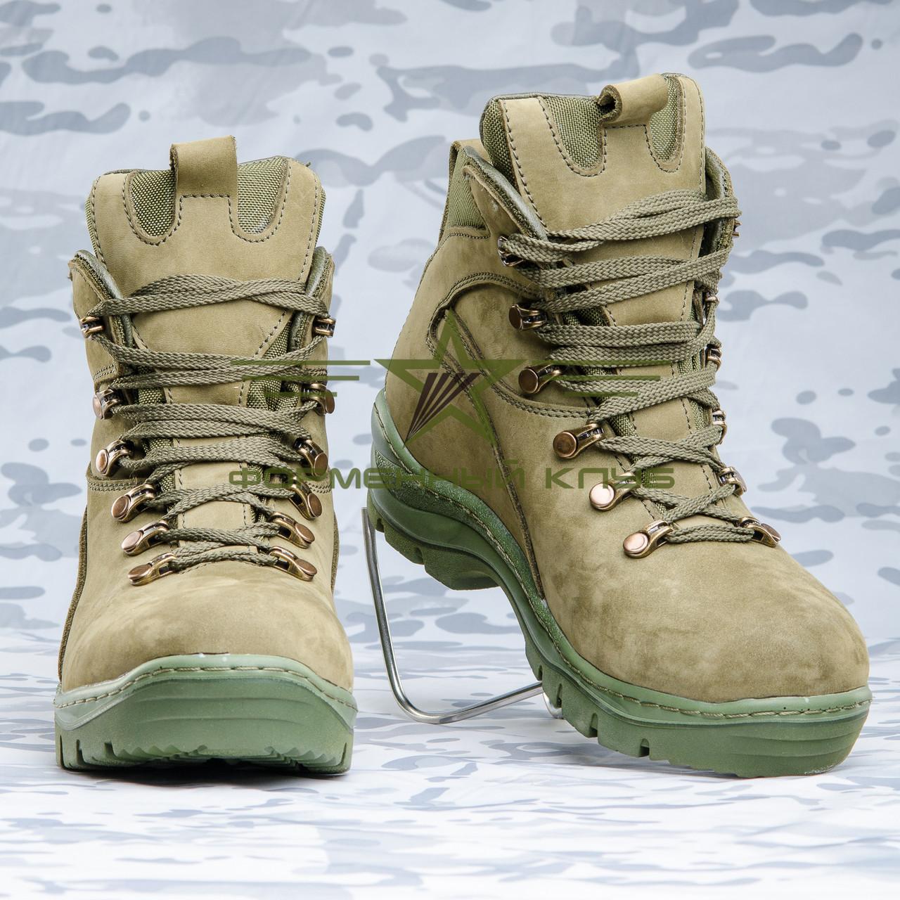 Ботинки Апачи зимние нубук олива  набивной мех