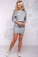 Теплое спортивное платье с лампасами из ангоры с люрексом 42-48 размера серое, фото 1