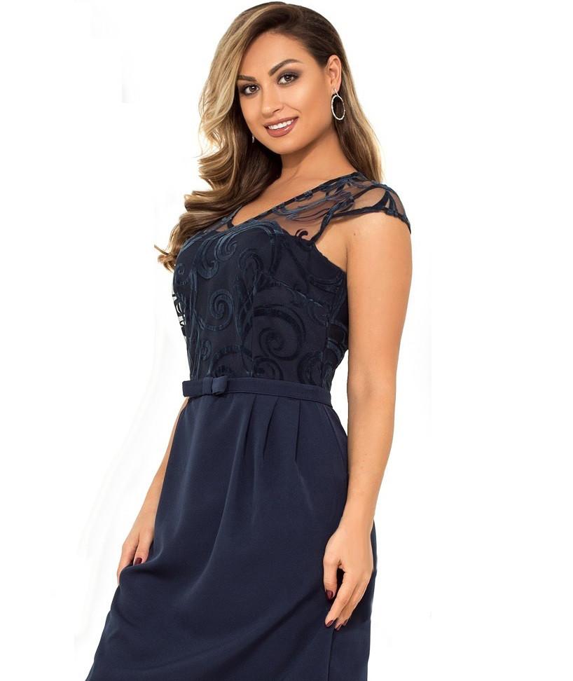 Нарядное темно синее женское платье мини размеры от XL ПБ-114