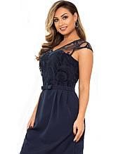 Ошатне темно-синє жіноче плаття міні розміри від XL ПБ-114
