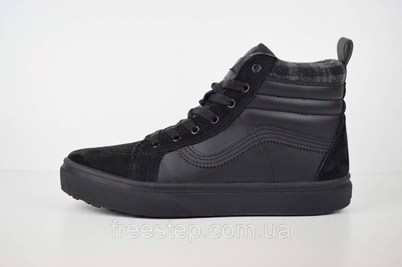 Зимние кроссовки в стиле Vans Old Skool, высокие, натур. замша, кожа ... fe4e9f9ff3e