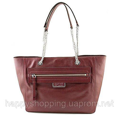 Женская бордовая кожаная сумка Marc by Marc Jacobs