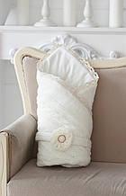 Вязаный конверт на выписку одеяло молоко