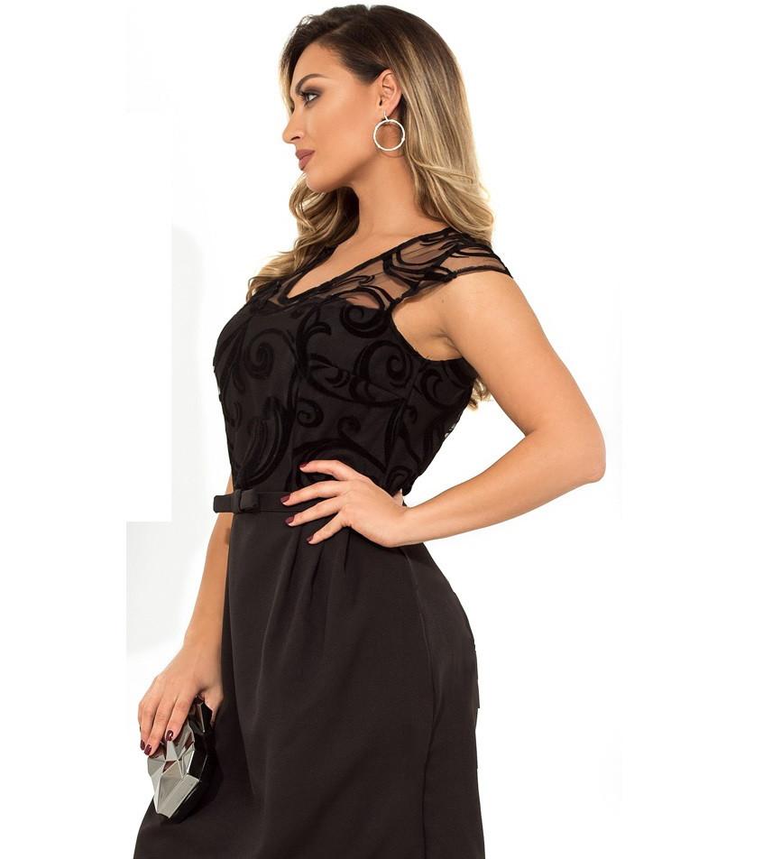 Стильное женское платье мини черного цвета размеры от XL ПБ-115