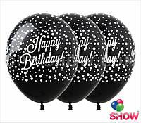 """Повітряні кульки """"Happy Birthday конфеті"""" на чорному"""""""