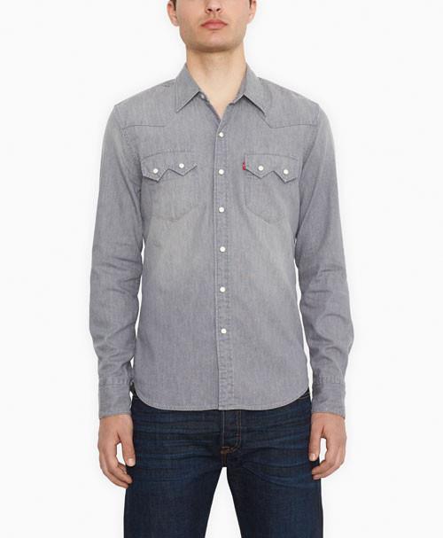 Джинсовая рубашка Levis Sawtooth Western - Grey  Denim (L)