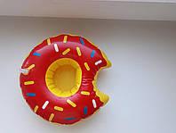 Прикольный надувной подстаканник пончик красный, фото 1