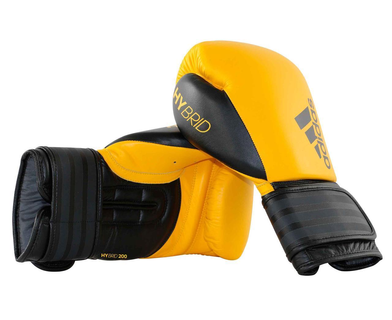 """Боксерские перчатки adidas """"Hybrid 200"""". Цвет желто-черный."""