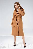 Стильное женское пальто коричневого цвета с капюшоном