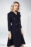 Строгое двубортное пальто синего цвета, фото 3