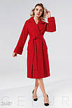 Классическое демисезонное пальто красного цвета, фото 2