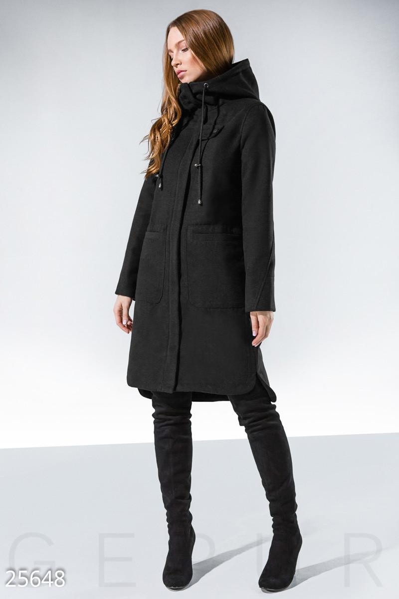 Кашемировое спортивное пальто черного цвета