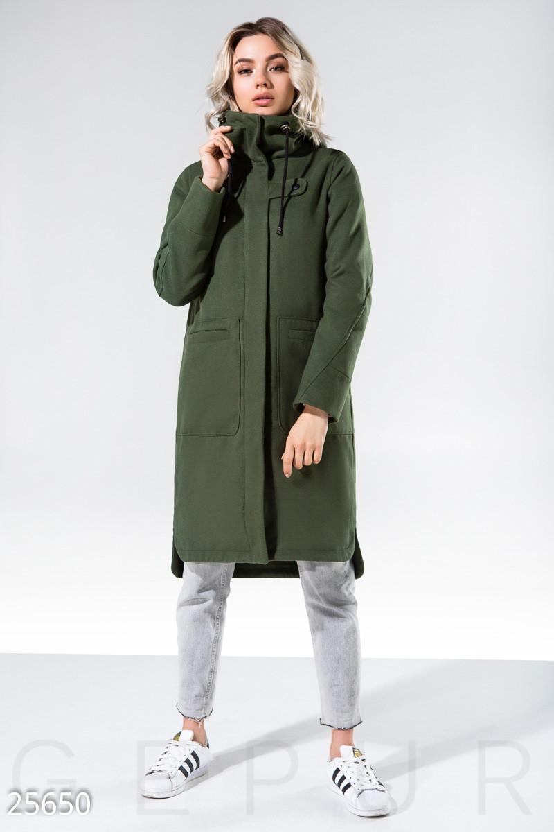 Кашемировое спортивное пальто оливкового цвета
