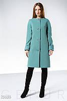 Лаконичное пальто прямого кроя мятного цвета