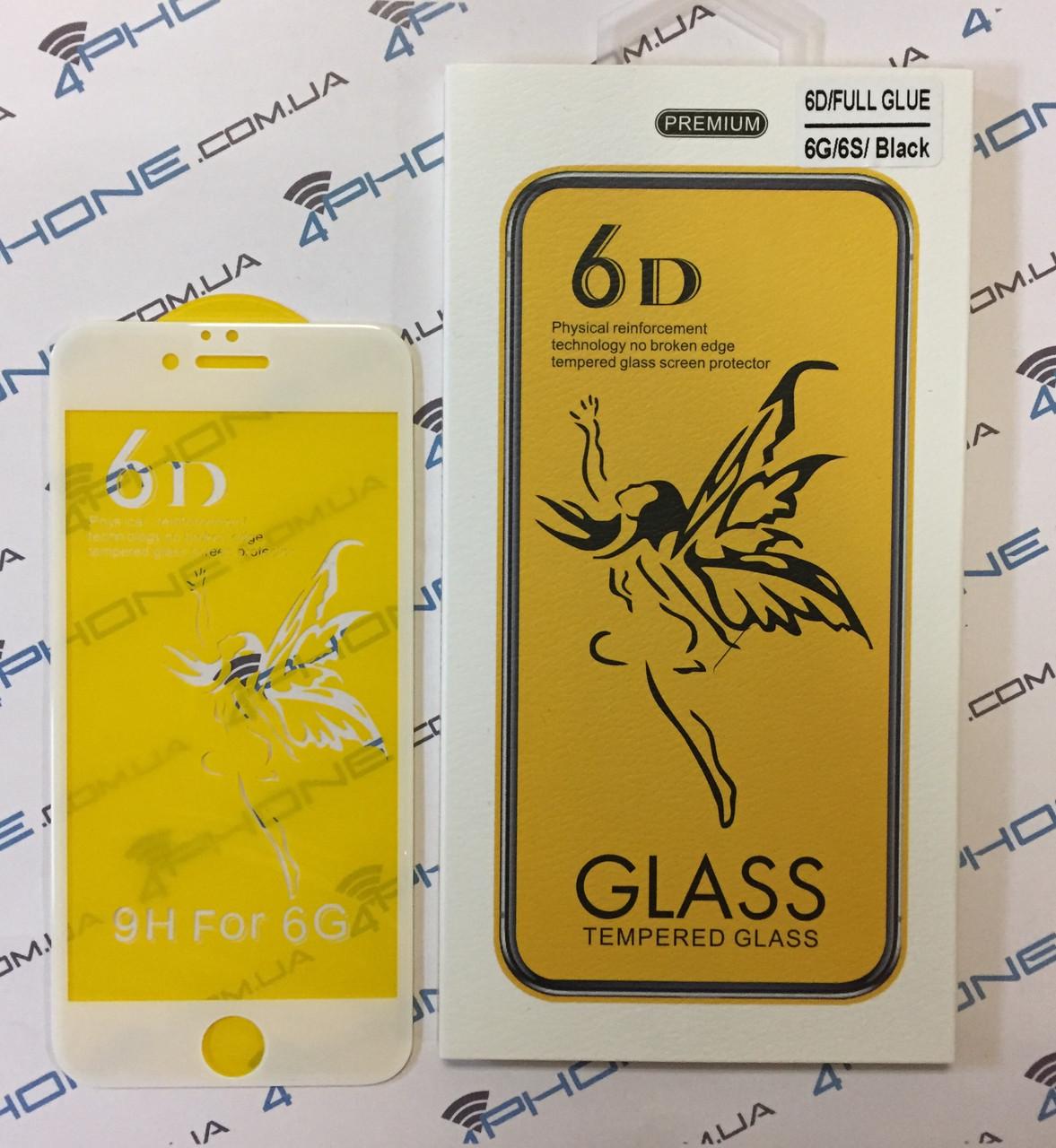 Защитное стекло Premium 6D для iPhone - white
