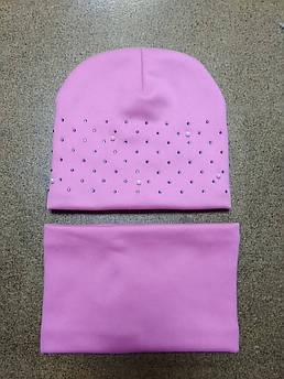 Комплект зимний трикотаж шапка и снуд для девочек 52-54 размер