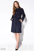 Лаконичное пальто прямого кроя синего цвета