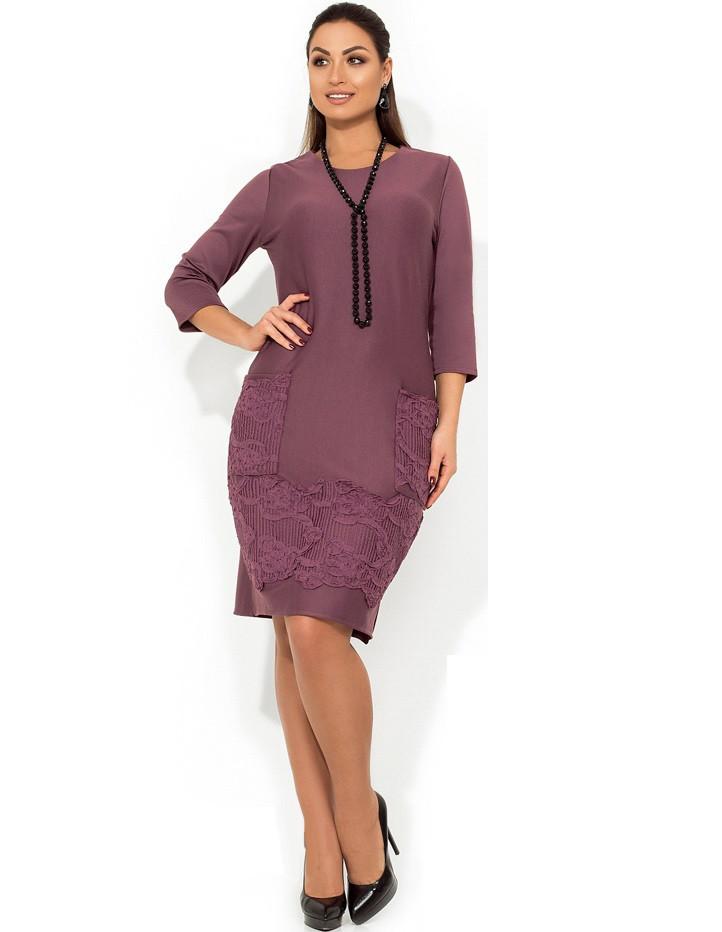 Красивое платье лиловое с декором из трикотажной нашивки размеры от XL ПБ-121