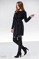 Синее стильное кашемировое пальто с бахромой