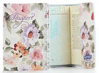 Кожаная обложка на паспорт Цветы
