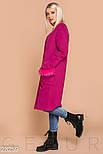 Стильное пальто малинового цвета с эко-мехом, фото 2
