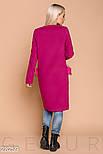 Стильное пальто малинового цвета с эко-мехом, фото 3