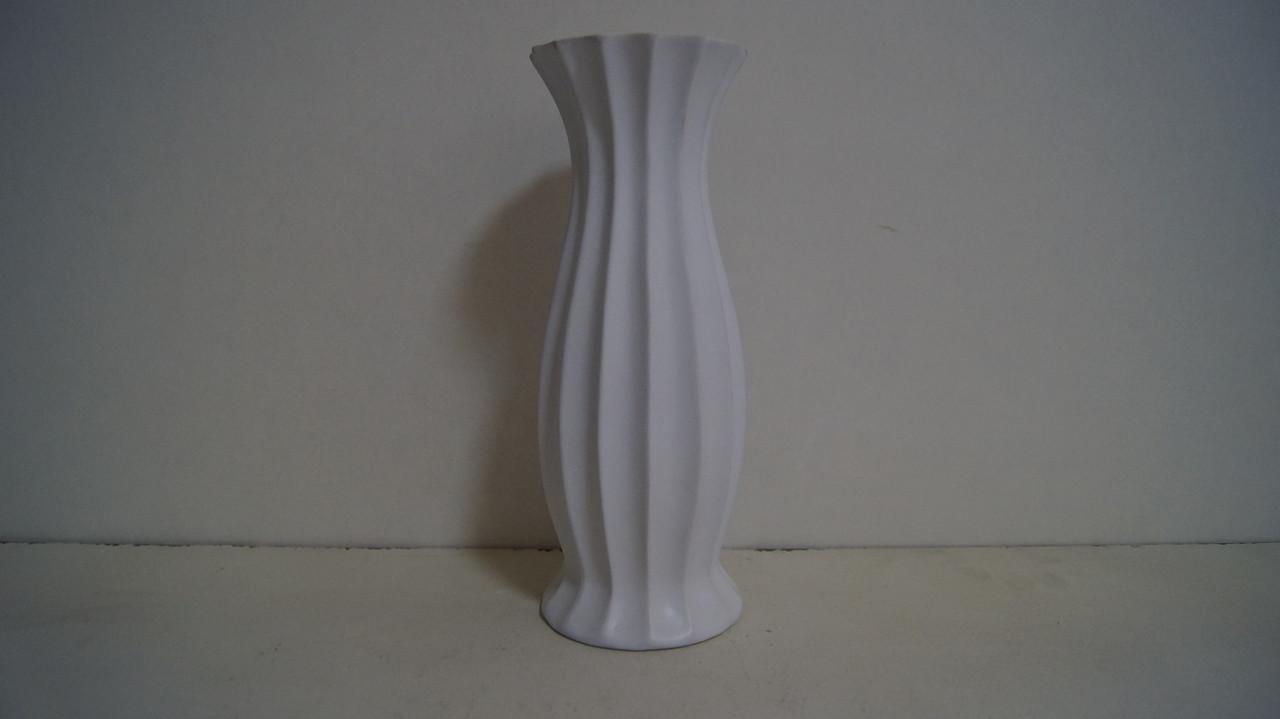 Ваза біла керамічна декоративна матова ребриста