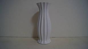 Ваза белая керамическая декоративная матовая ребристая