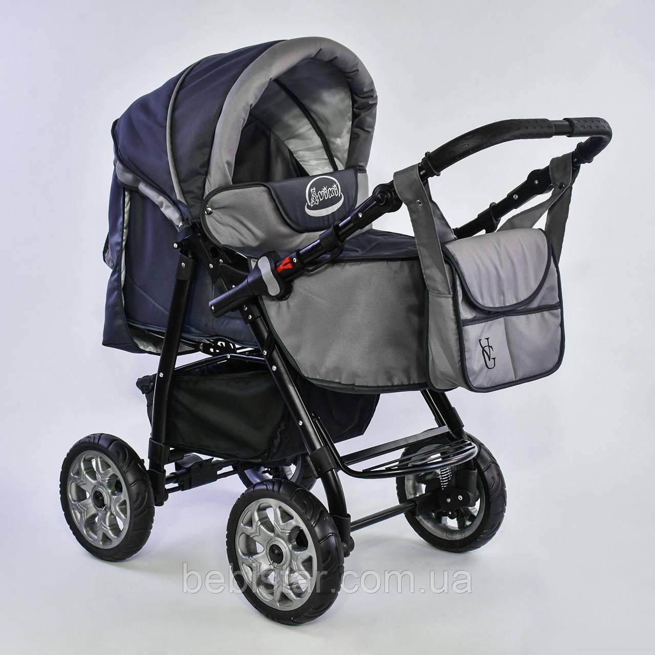 Дитяча коляска-трансформер 2в1 сіра Viki 86 Karina дощовик сумка люлька-переноска для немовлят