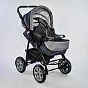 Дитяча коляска-трансформер 2в1 сіра Viki 86 Karina дощовик сумка люлька-переноска для немовлят, фото 3