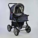 Дитяча коляска-трансформер 2в1 сіра Viki 86 Karina дощовик сумка люлька-переноска для немовлят, фото 5