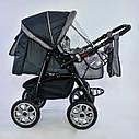 Дитяча коляска-трансформер 2в1 сіра Viki 86 Karina дощовик сумка люлька-переноска для немовлят, фото 2