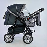 Детская коляска-трансформер темно-серая с серой отделкой Viki 86 Karina деткам от рождения до 3 лет
