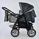 Дитяча коляска-трансформер 2в1 сіра Viki 86 Karina дощовик сумка люлька-переноска для немовлят, фото 4