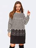 Трикотажне міні сукня прямого крою з мереживом, фото 3