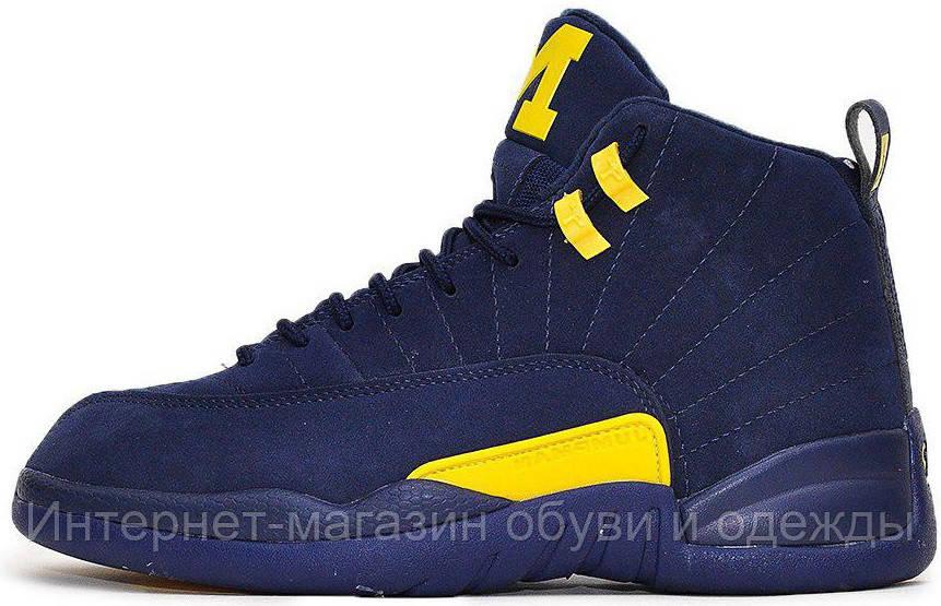 24985561878f Мужские Кроссовки Nike Air Jordan 12 Michigan Найк Аир Джордан 12 Синие — в  Категории