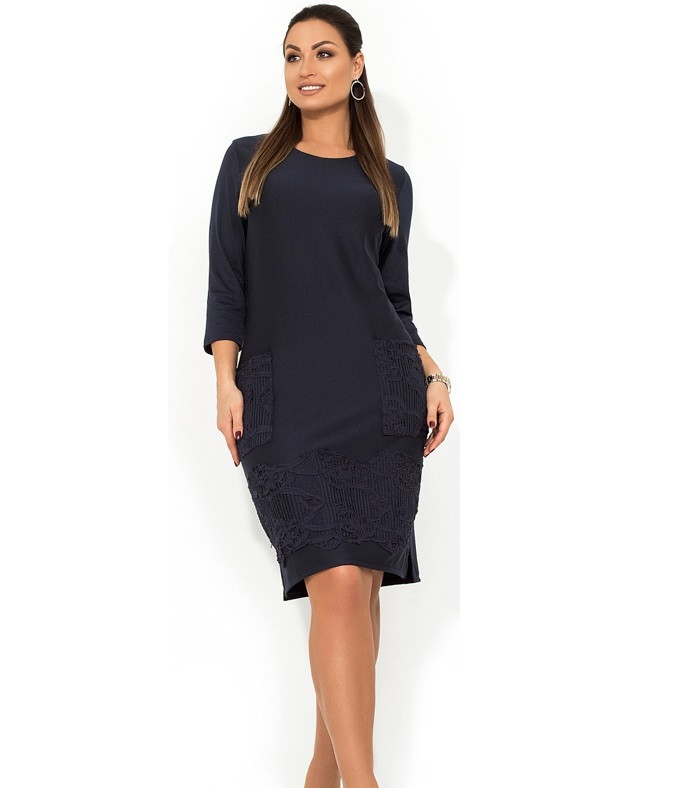 Стильное платье темно синее с декором из нашивки размеры от XL ПБ-122