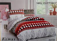 Сатиновое постельное бельё евро размер Elway 5078