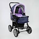 Дитяча коляска-трансформер 2в1 фіолетова Viki 86 Karina сумка дощовик люлька малюкам від народження до 3 років, фото 2